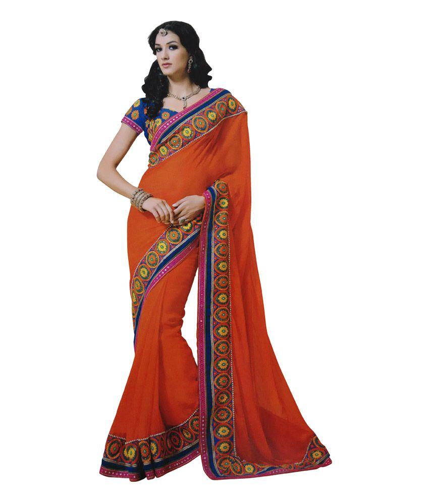 Ashika sarees orange chiffon mirror work saree buy for Mirror work saree
