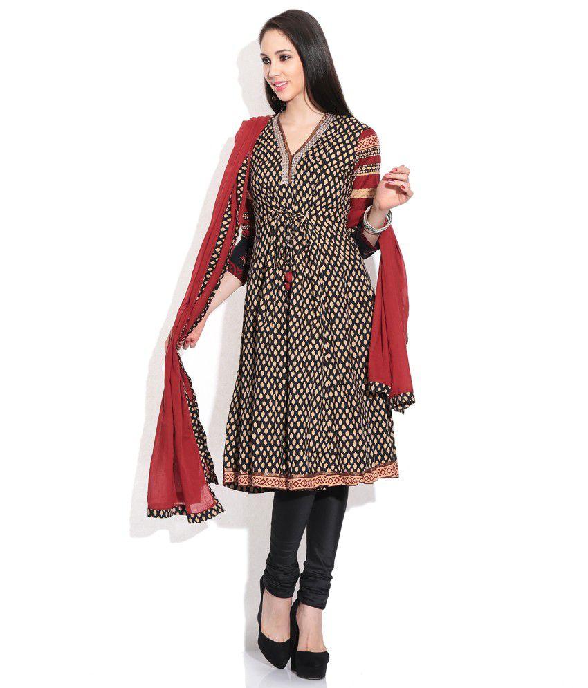 321922bd9 Biba Black Embroidered Stitched Anarkali Salwar Suit - Buy Biba Black  Embroidered Stitched Anarkali Salwar Suit Online at Low Price - Snapdeal.com