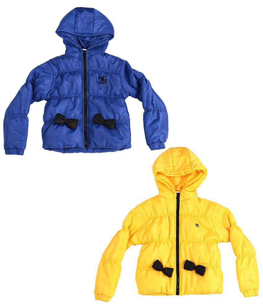 Dazzgear Blue & Yellow Full Sleeves Jacket Set Of 2 For Girls