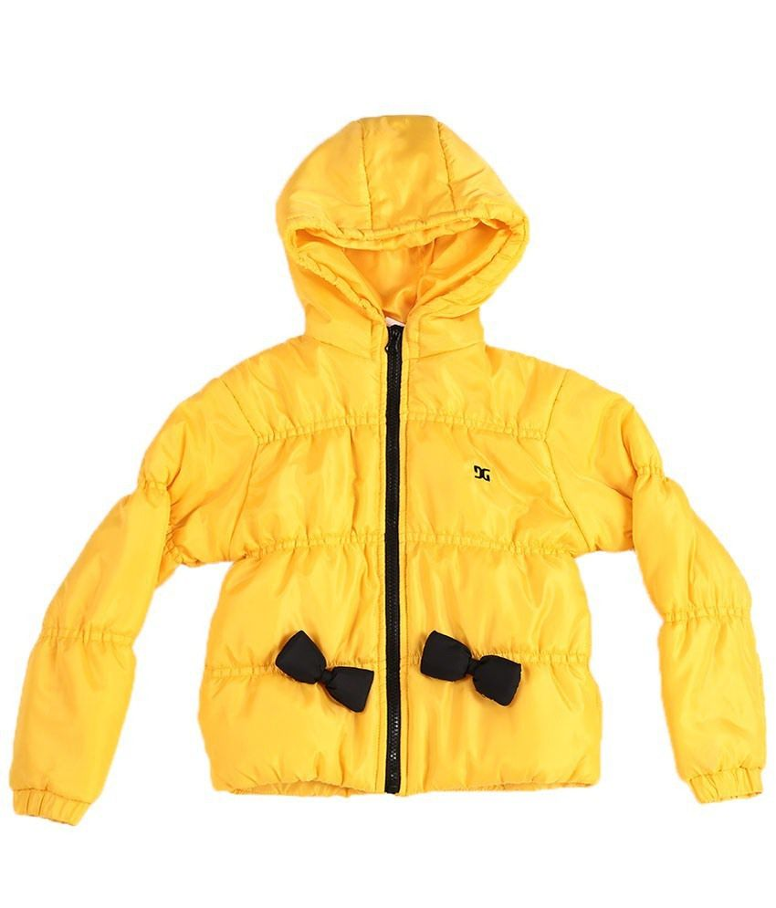 Dazzgear Yellow Full Sleeves Hooded Jacket For Girls