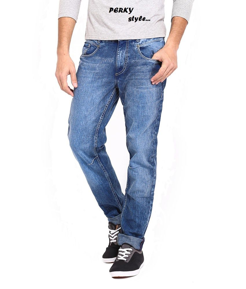 Perky Blue Cotton Regular Men Jean