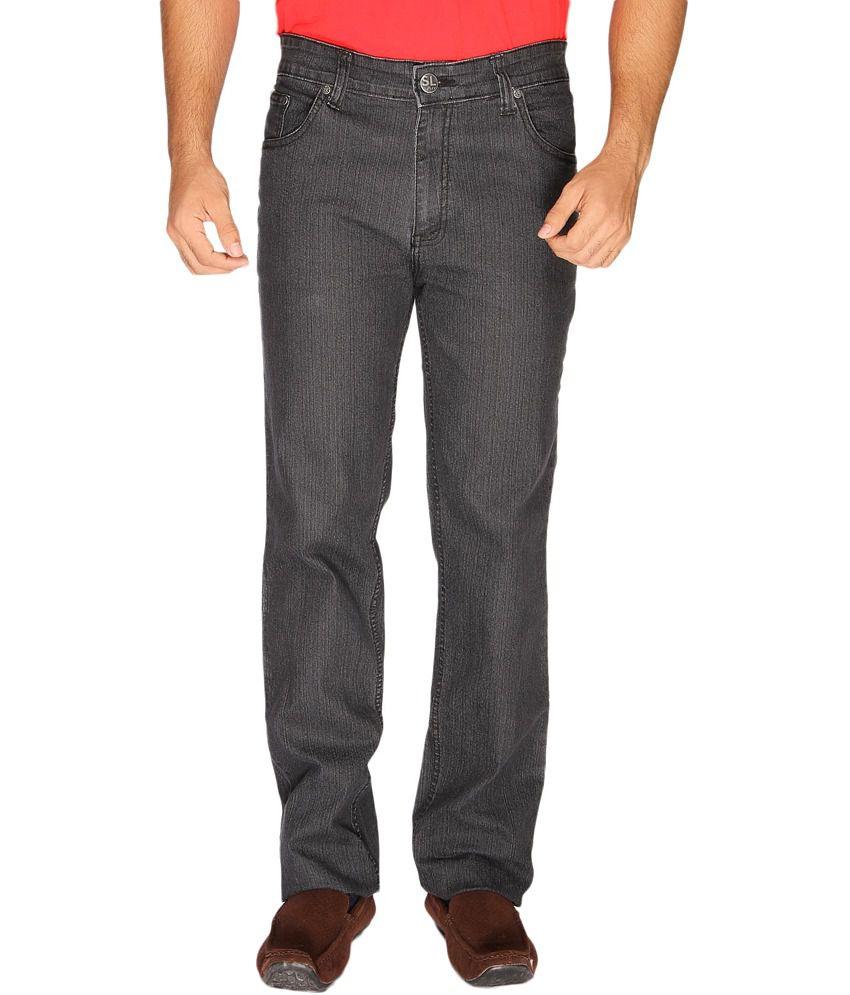 Sl Play Gray Cotton Regular Fit Men's Jeans