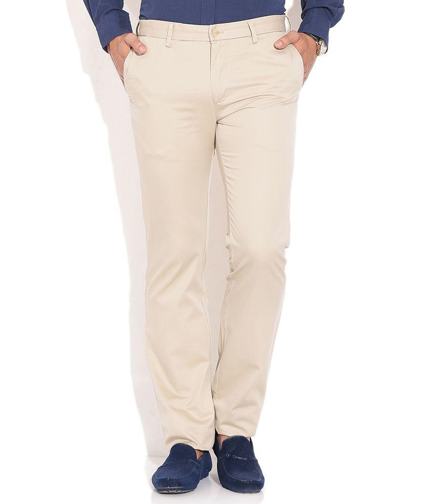 Indian Terrain Cream Formal Trouser