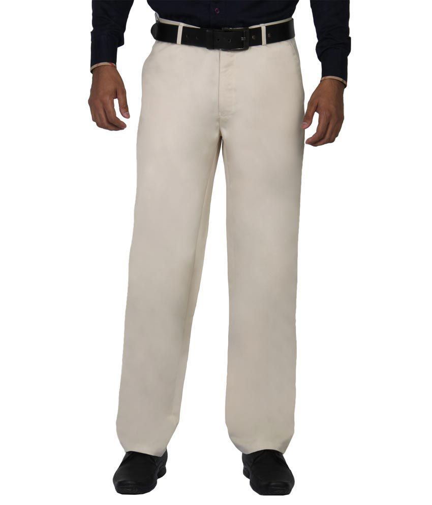Modo Poly Cotton Beige Regular Formal Trousers