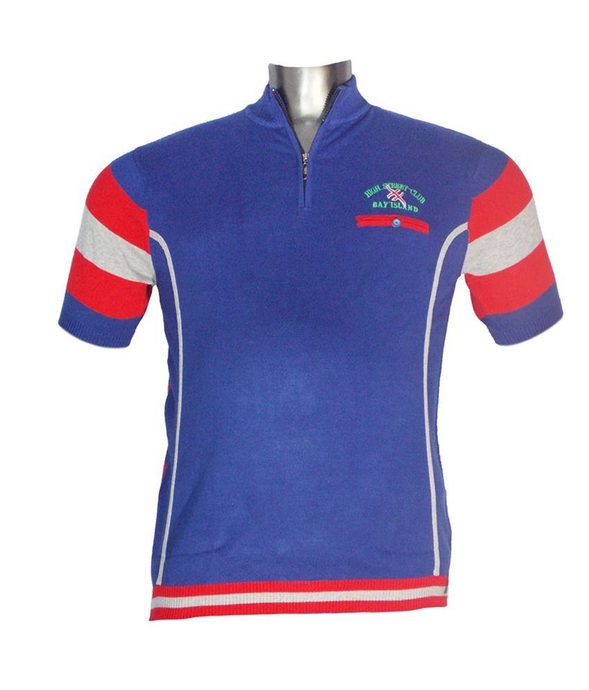 Xmex Blue Cotton Half Sleeves T-shirt