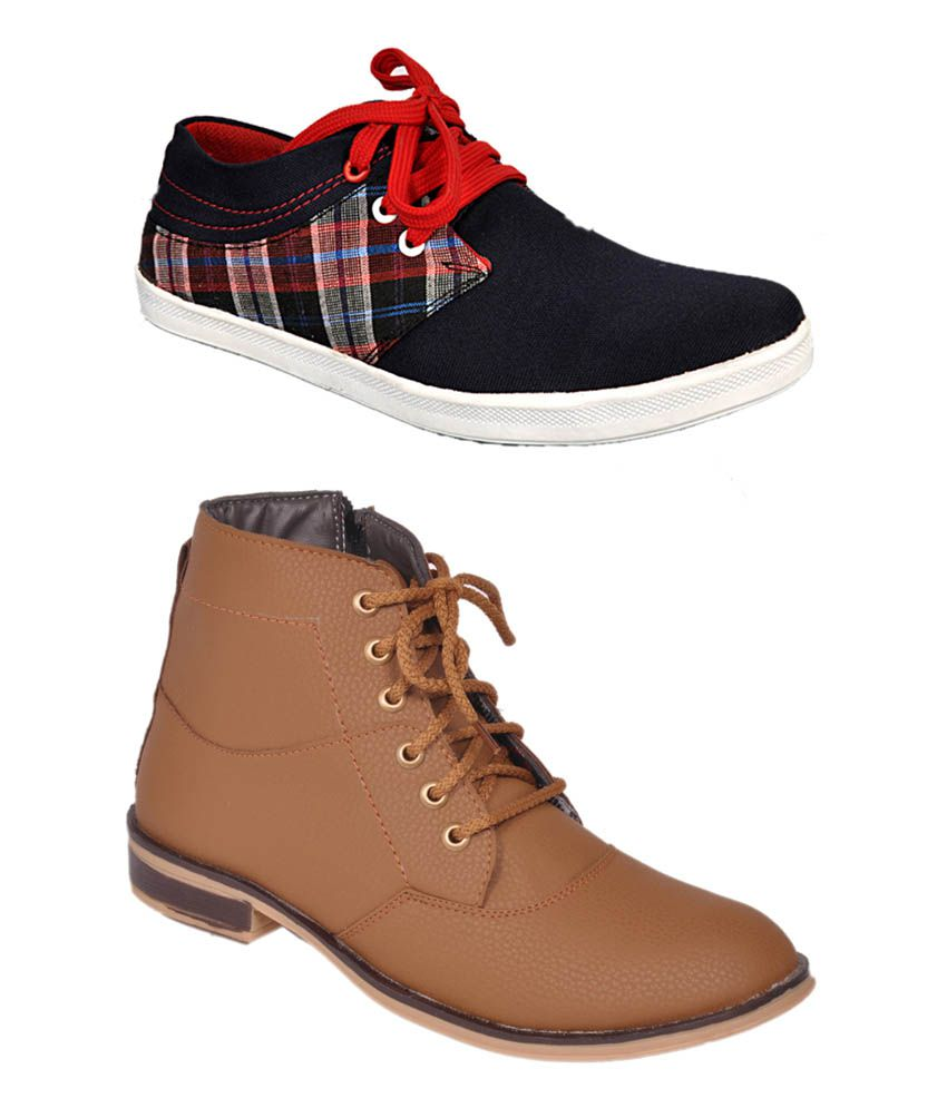 Jammy Joes Multicolor Synthetic Leather Boots Combo Of 2