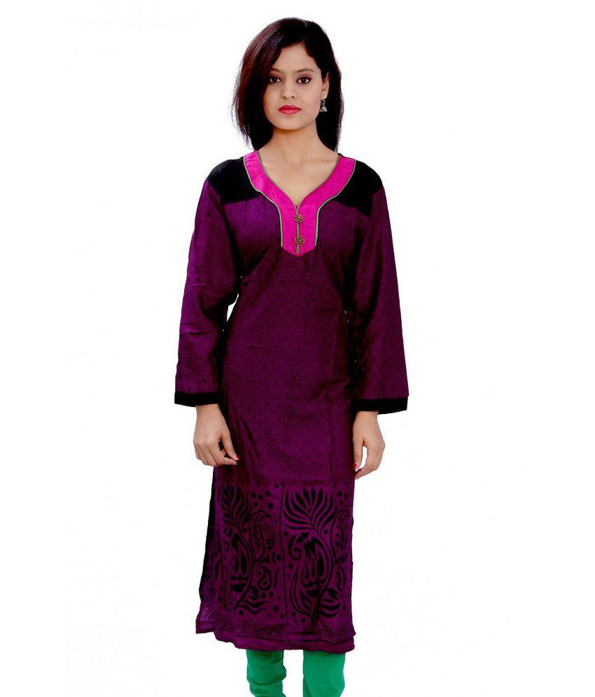 GRJ India Purple Cotton Printed Long Kurti
