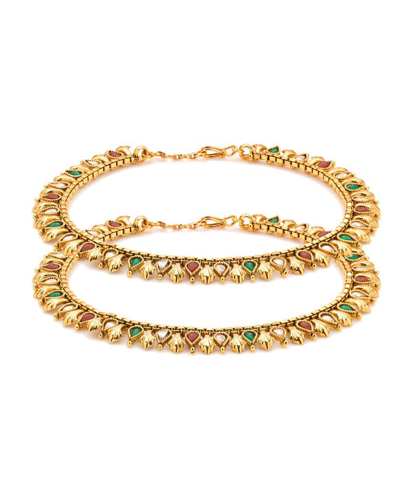 Voylla Gold Plated Anklets Adorned With Shiny Cz And Colored Stones