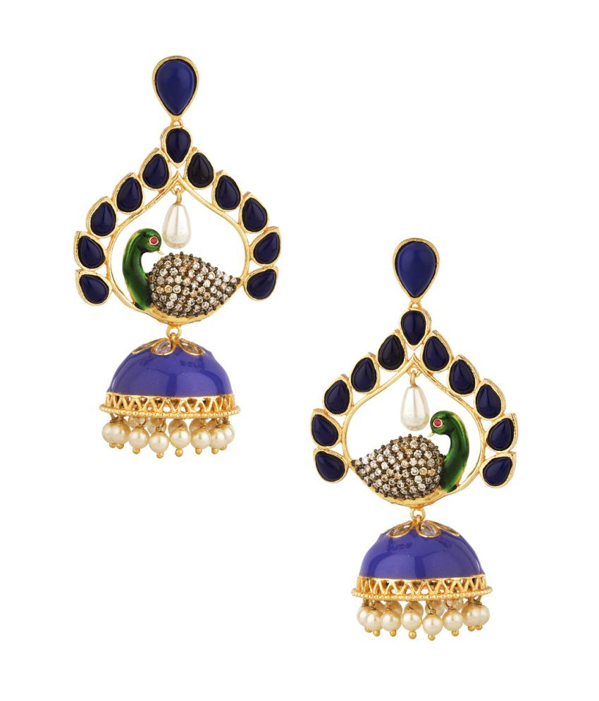 Voylla Peacock Inspired Jhumki Earrings