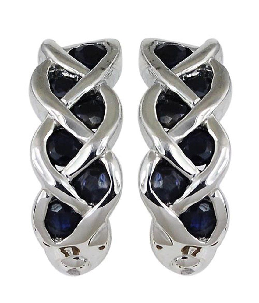 925 Silver Earings with Sapphire and Diamond
