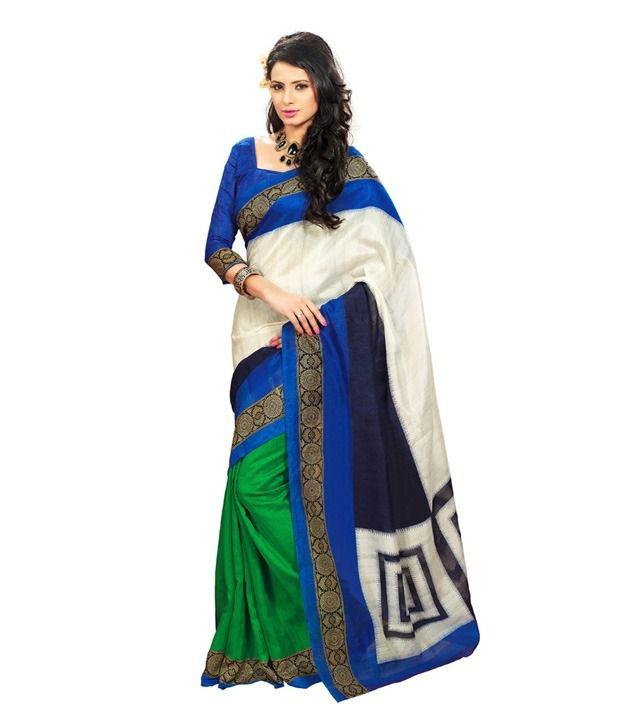 Fabdeal White Faux Bhagalpuri Silk Saree