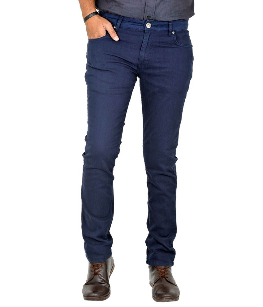 Indigen Navy Cotton Skinny Basics Jeans