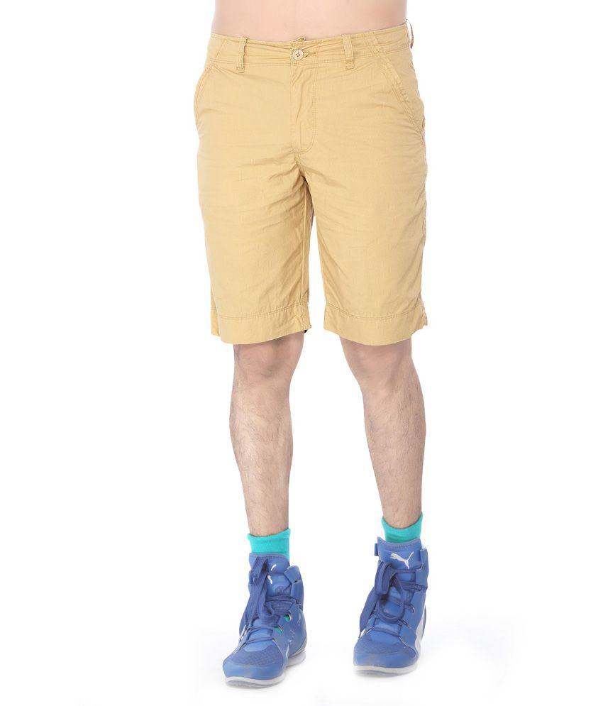 Thinc Khaki Cotton Solids Shorts