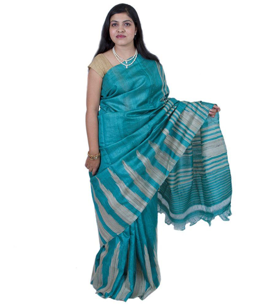 Vrindavan Teal Tasar Ghicha Fera Silk Saree With Silk Mark