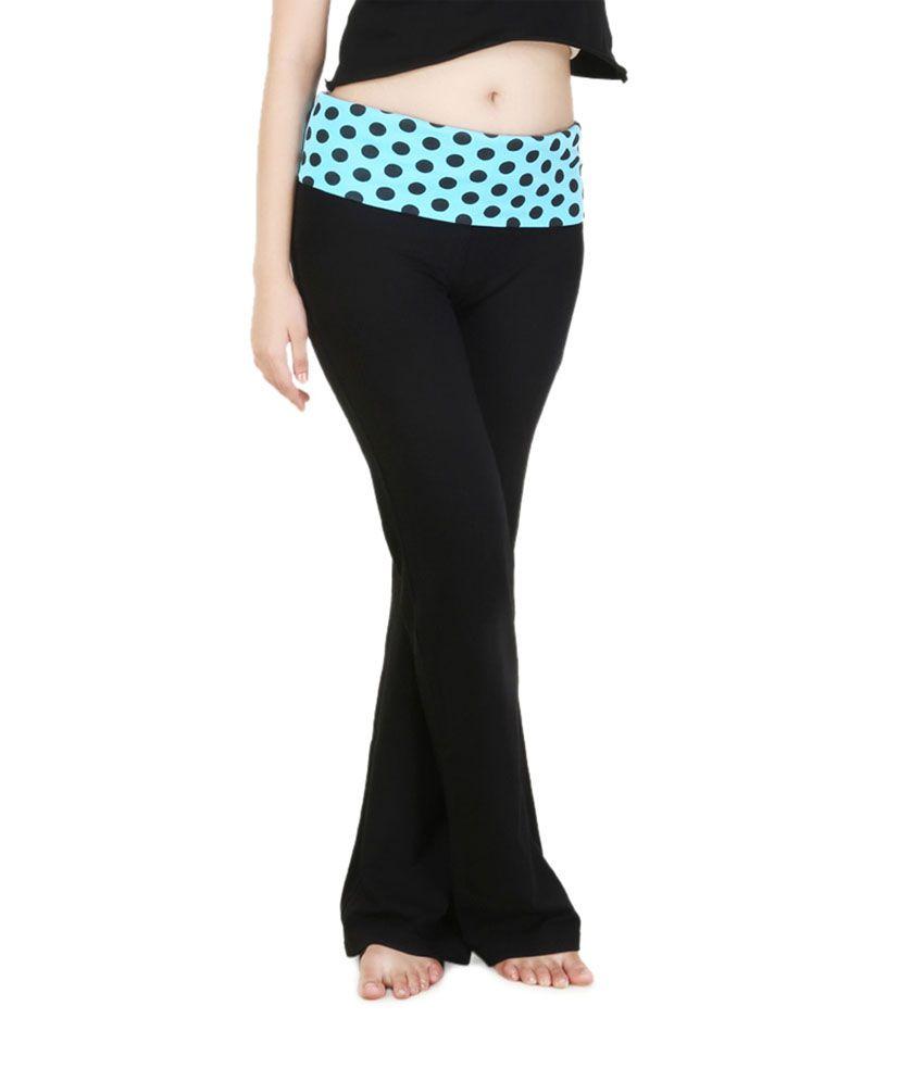 Nite Flite Blue Polka Print Foldover Yoga Pants