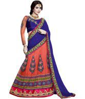 Sfc Blue Pink Orange Bamber Embroidery Thread Stone Booti Patch Work Lehenga