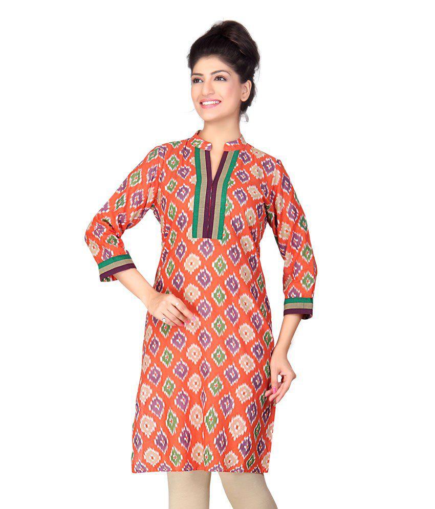 Lifestyle Retail Orange Cotton Handcrafted Cotton Women Kurti