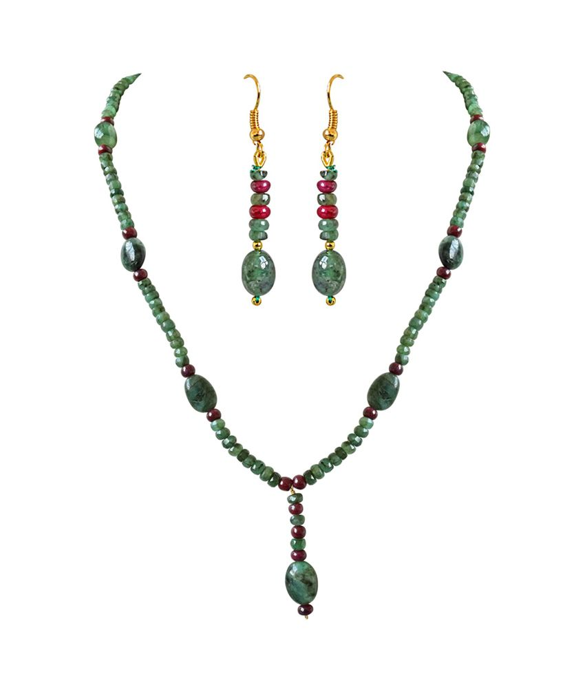 7a7e3c767 Surat Diamonds Real Oval Green Emerald, Beads & Ruby Beads Trendy Necklace  & Earring Set For Women - Buy Surat Diamonds Real Oval Green Emerald, ...