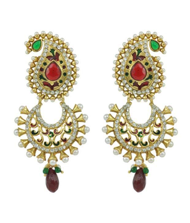 Aakshi Jumka Setpeacock Green Victorian Style Indian Gold Briadal Jewelry