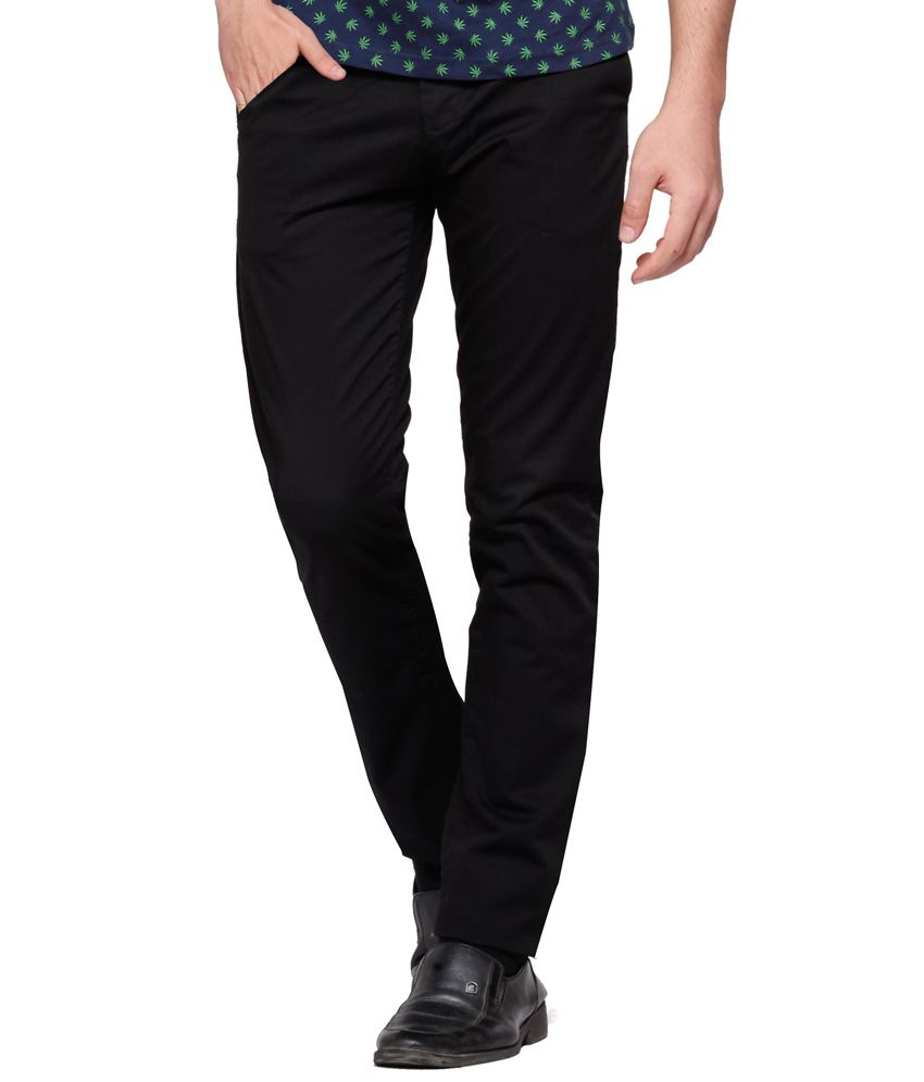 Double F Black Cotton Lycra Casual Chinos