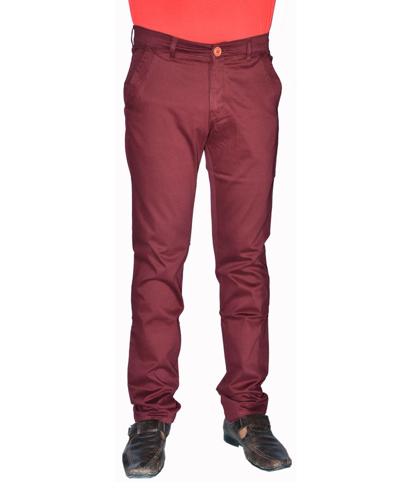 Macrame Maroon Cotton Slim Fit Mens Jeans