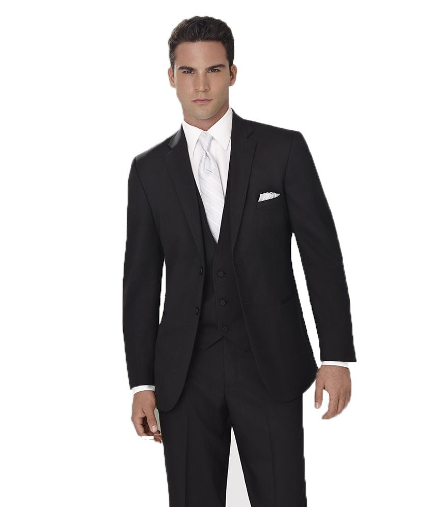 Raymond Black Poly Blend Formal Unstitched Suit
