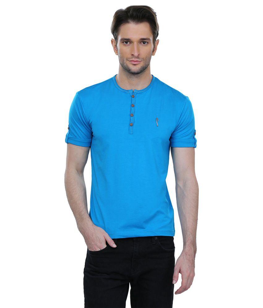 Stride Blue Henley Neck T-shirt
