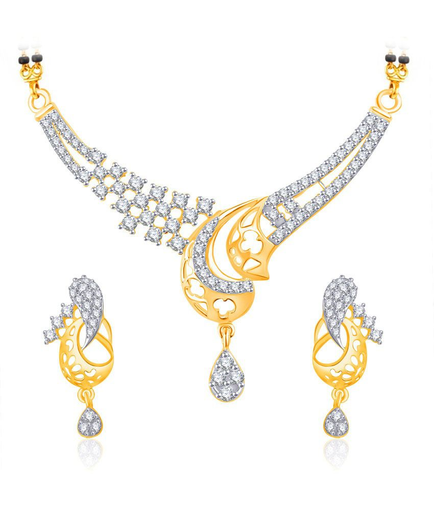 Vk Jewels Excellent Gold And Rhodium Plated Mangalsutra Pendant Set With Earrings