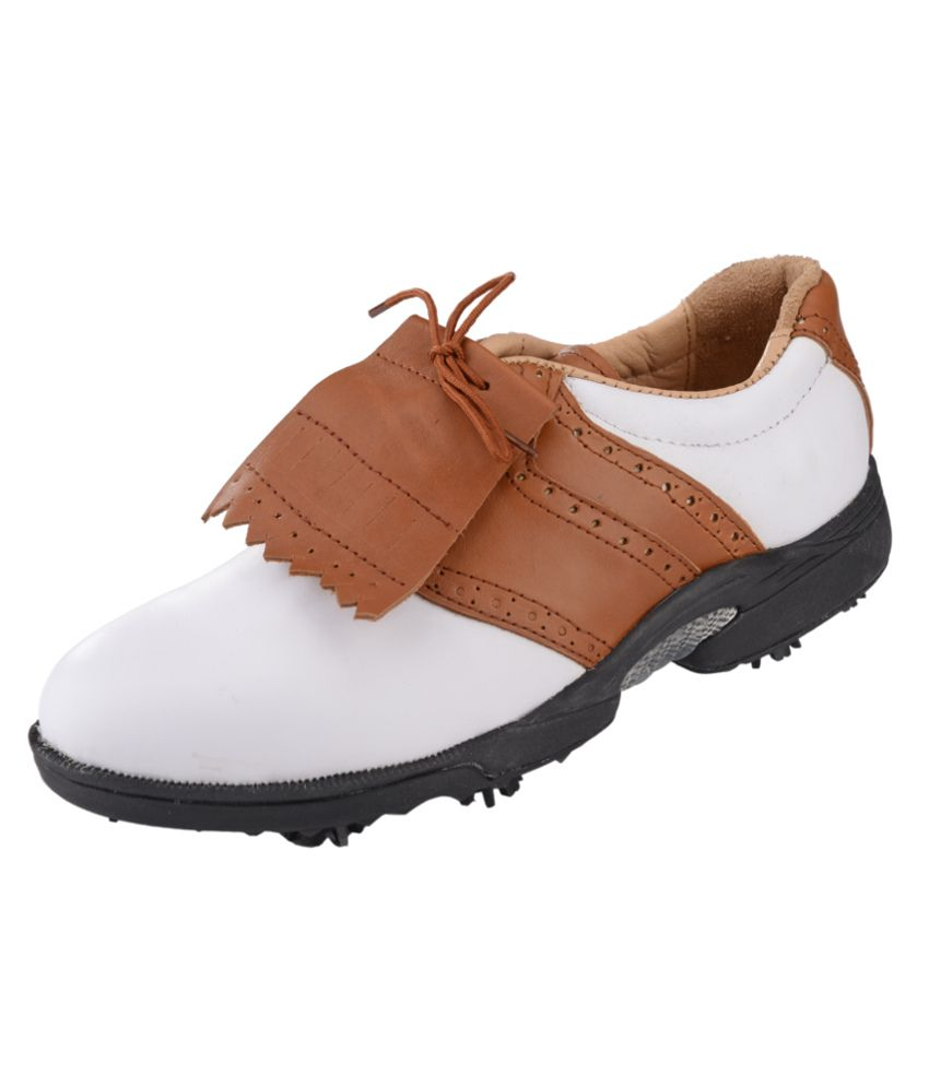 ESS Golf White Brown Brown Sport Shoes