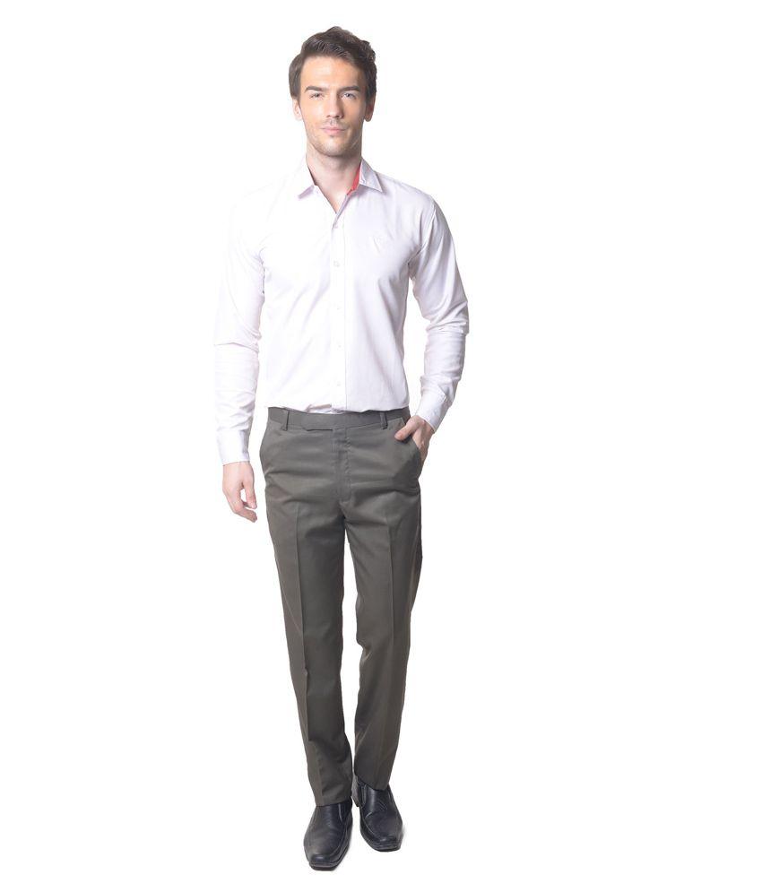 Skookie Light Green Cotton Blend Flat Formal Trouser