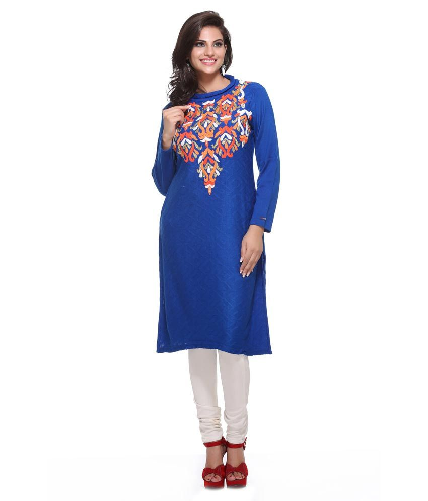 D_ove Blue Embroidered Acrylic Round Neck Long Kurti