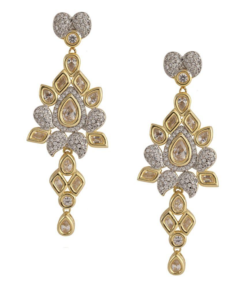 Siyora American Diamonds Push Back Fashion Earrings