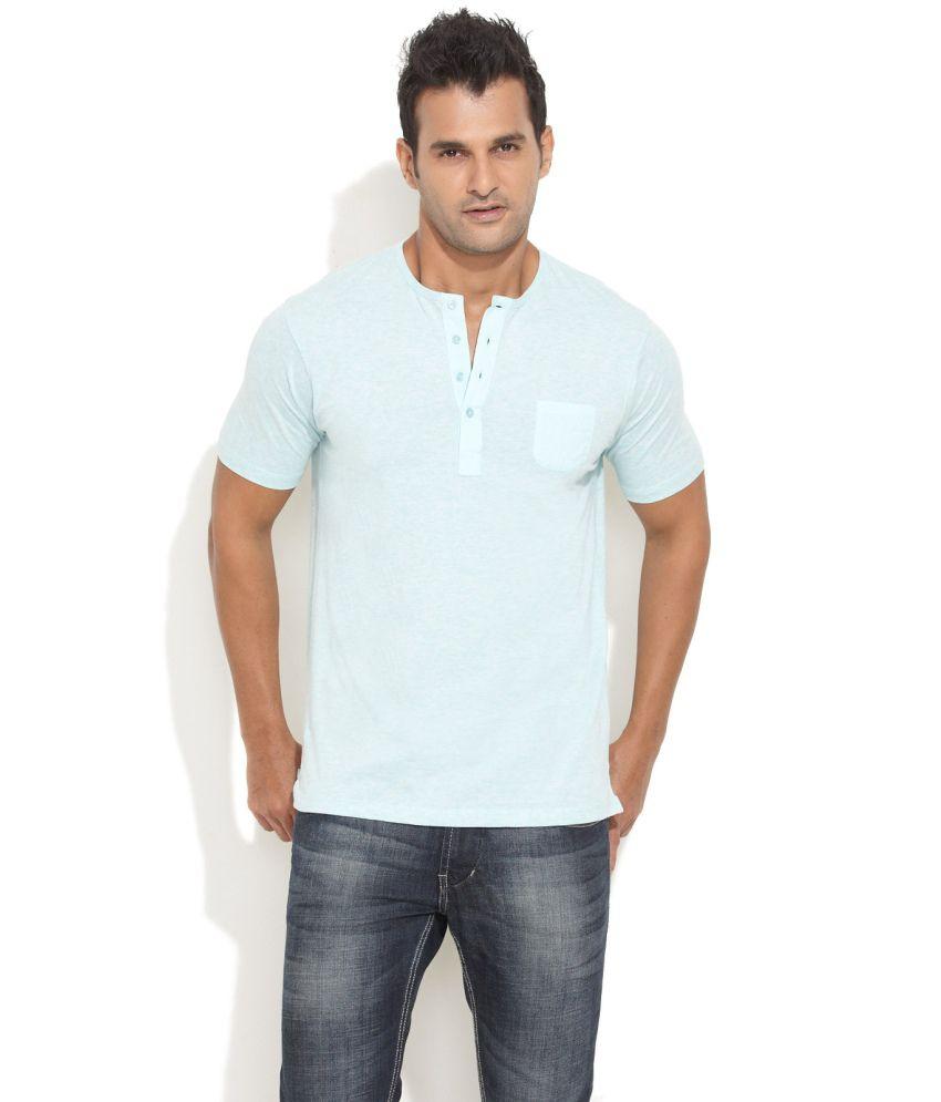 Freecultr Green Sea Melange Henley T-Shirt