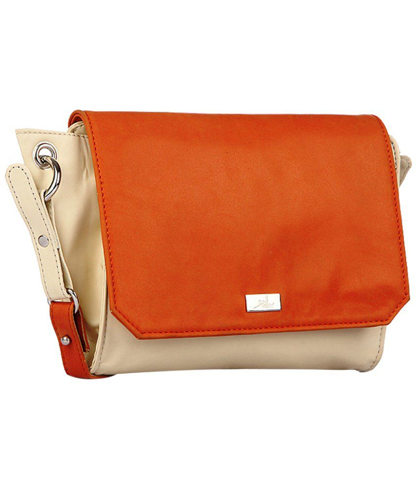 Yelloe Orange & Beige Sling Bag - Buy Yelloe Orange & Beige Sling ...