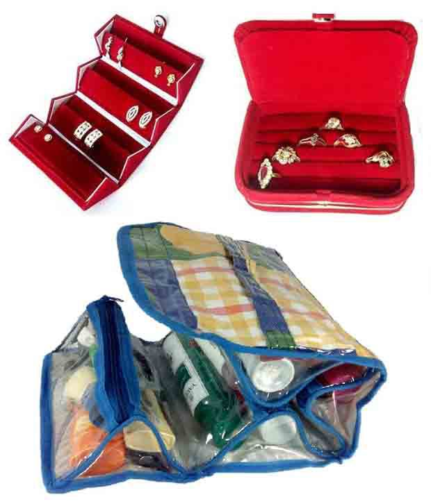 Rends Online Earring Case, Ring Box, Cosmetic Jewelry Make Up Shaving Bag - Combo