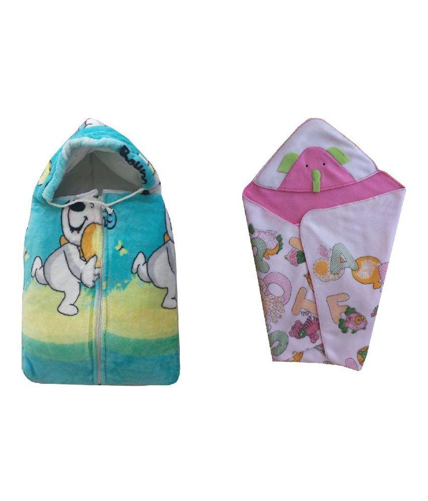 Cute Baby Combo of Bowoo & Peng Baby Sleeping Bag & Alphabets print head covering baby holding sheet