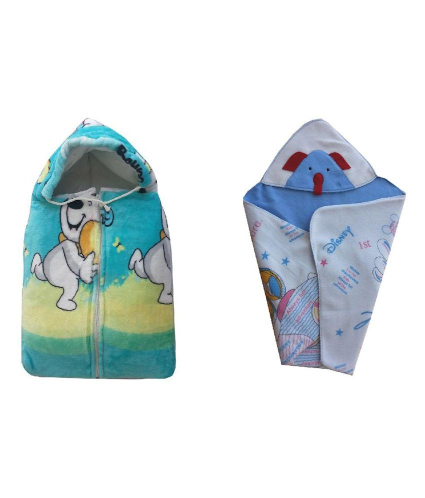 Cute Baby Combo of Bowoo & Peng Baby Sleeping Bag & Mickey Mouse head covering baby holding sheet