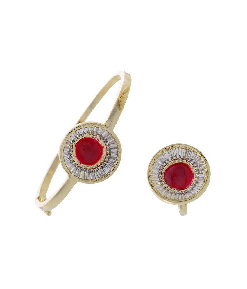 Pearls Cart Ad Stone Studded Elegant Kada / Bracelet & Finger Ring Combo Set(ad Red)