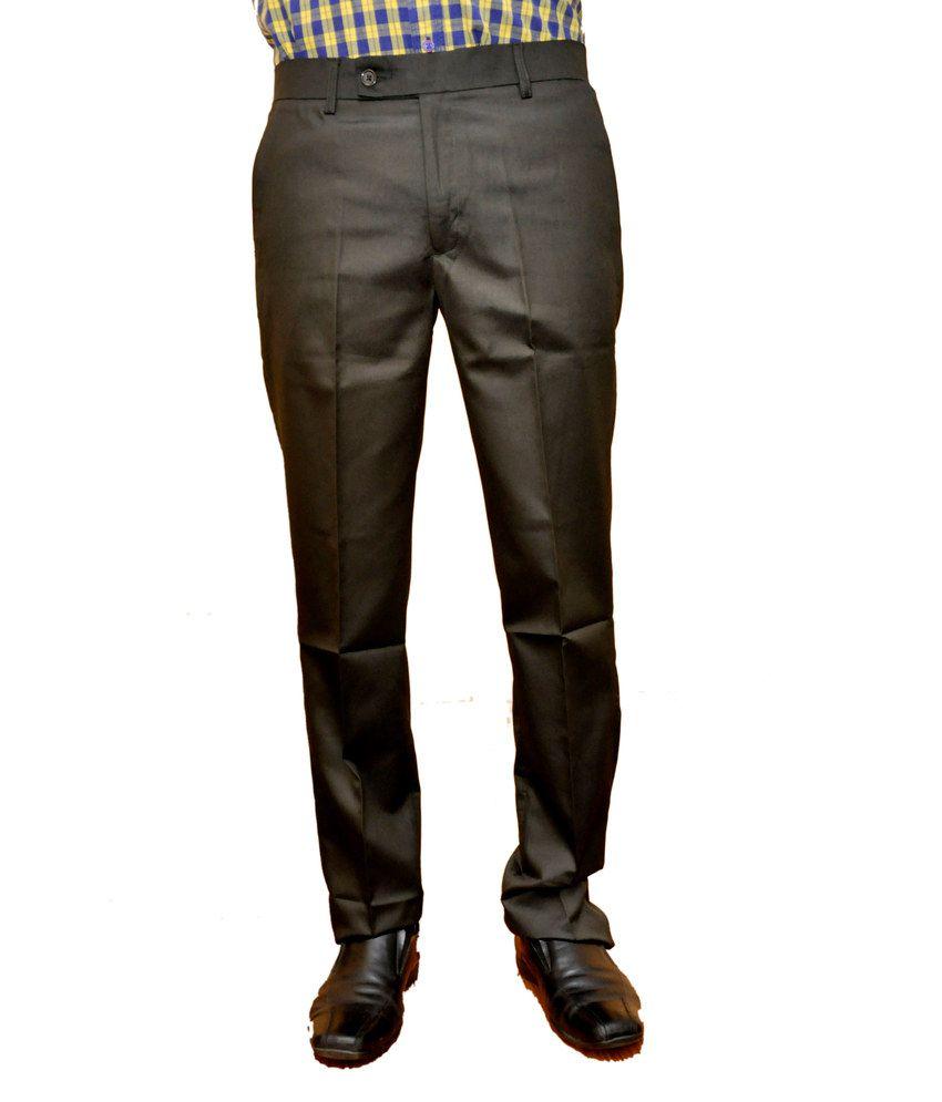Smartshop123 Black Poly Viscose Regular Formal Trouser