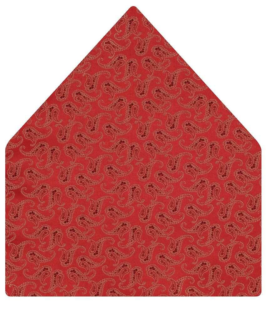 Tiekart Red Paisley Pocket Square