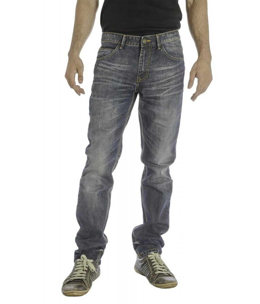 Imyoung Navy Cotton Blend Slim Fit Denim Jeans