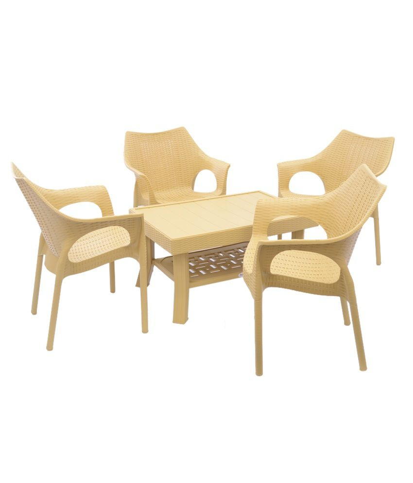 Cane Sofa Set Price In Delhi: Supreme Set Of 4Cambridge Chair + 1 Vegas Center Table