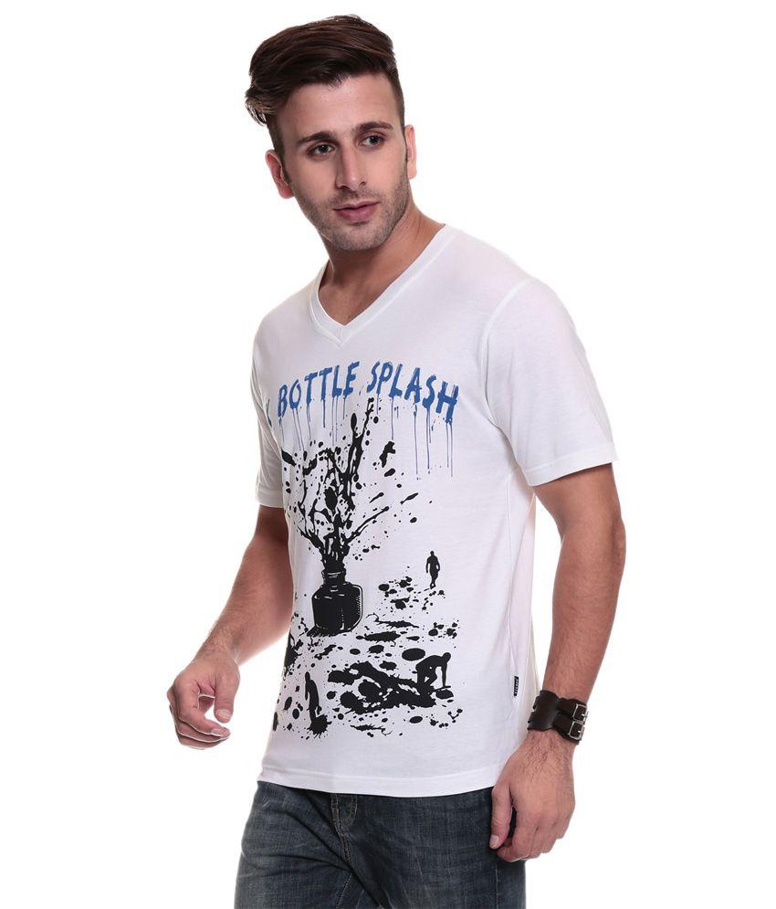 TSG Escape Men'S V Neck White Printed T-Shirt