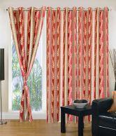 Iws Orange Printed Polyester Window Curtain Set Of 3