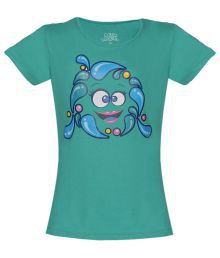 Aquamagica Dark Turquoise Smiley T Shirt For Girls