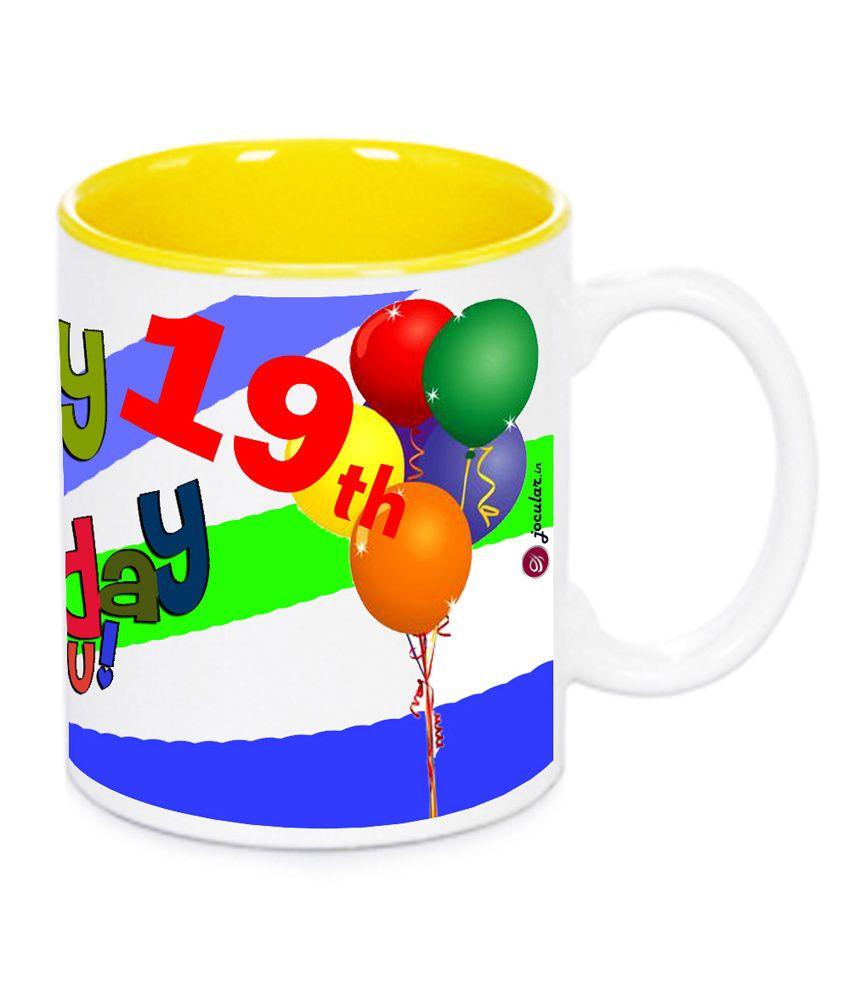 Jocular Happy 19th Birthday Duo Tone Yellow Ceramic Mug