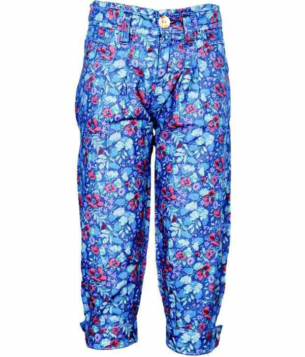 Tales & Stories Blue All Over Print Capri