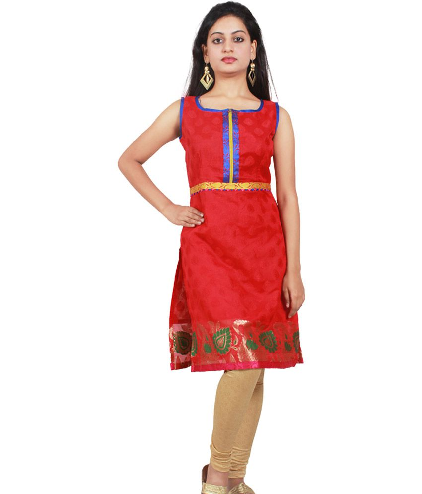 Kai Po Che Red Chanderi Sleeveless Long Kurti