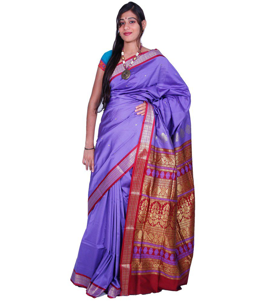 Uppada Blue Art Silk Saree
