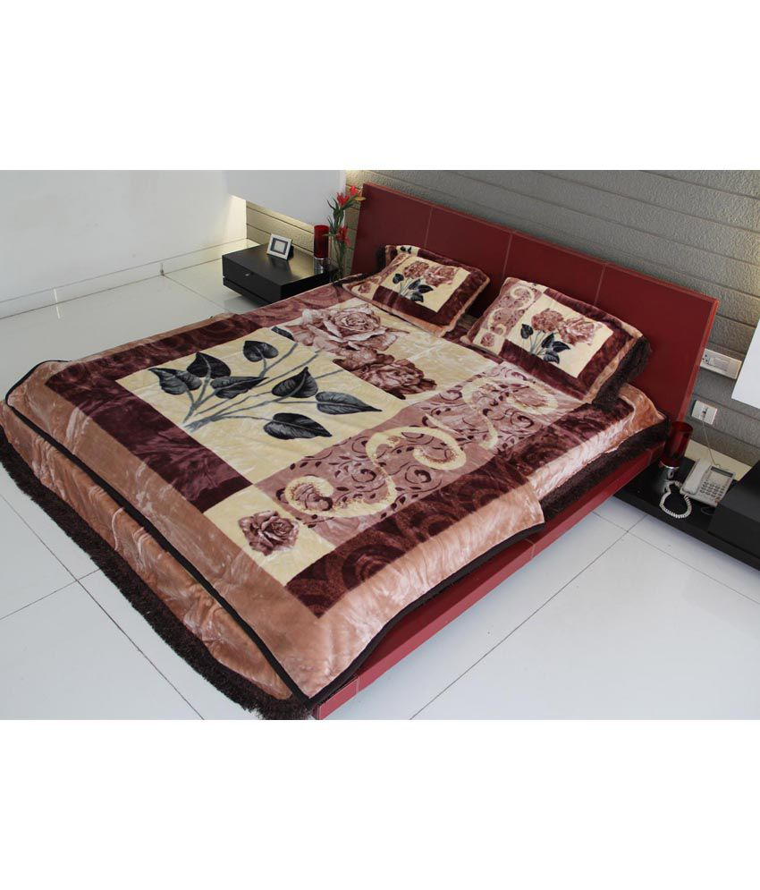 youngman 4 pcs set 1 mink blanket double bed size 1 bed cover 2